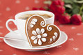 Gingerbread heart with coffee and roses Royalty Free Stock Image