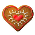 Gingerbread heart decorated colored icing holiday cookie in shape of qualitative vector eps illustration for valentines day Stock Photos