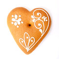 Gingerbread heart isolated on a white background Stock Images