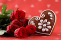 Gingerbread heart and roses Stock Photos