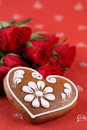 Gingerbread heart and roses Royalty Free Stock Images