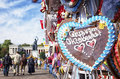 Gingerbread heart typical souvenir at the oktoberfest in munich a Royalty Free Stock Images