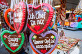 Gingerbread hearts at the oktoberfest typical in munich greetings from Stock Photography