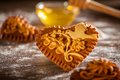 Gingerbread hearts traditional freshly baked or honeybread from slovenia Royalty Free Stock Images