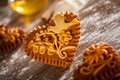 Gingerbread hearts traditional freshly baked or honeybread from slovenia Stock Image