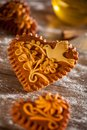 Gingerbread hearts traditional freshly baked or honeybread from slovenia Royalty Free Stock Photo