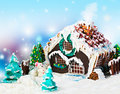 Gingerbread house and candy for the holiday merry christmas Royalty Free Stock Photo