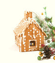 Gingerbread house with christmas decoration isolated on white background Royalty Free Stock Photography