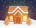 Gingerbread house Christmas night scene Royalty Free Stock Photo