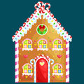 Gingerbread house decorated candy icing and sugar.christmas cookies, traditional winter holiday xmas homemade Royalty Free Stock Photo