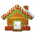 Gingerbread house decorated colored icing holiday cookie in shape of christmas qualitative vector eps illustration for new years Stock Images