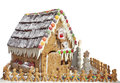 Gingerbread House with Gingerbread Men Royalty Free Stock Images