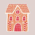 Gingerbread house isolated on light background. Decorative confection shaped like building. Beautiful delicious dessert