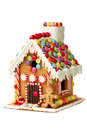 Gingerbread house isolated on white Royalty Free Stock Photos