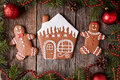 Gingerbread house, man and woman cookies christmas Royalty Free Stock Photo