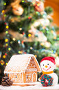 Gingerbread house over on the snow and lovely handmade snowman Royalty Free Stock Photos