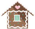 Gingerbread house with pink icing and candy Stock Photos