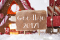 Gingerbread House With Sled, Snowflakes, Text Goodbye 2017 Royalty Free Stock Photo