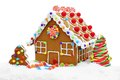 Gingerbread house in snow Royalty Free Stock Photo