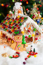 Gingerbread house and snowmen for christmas Royalty Free Stock Photo