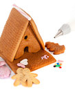 Gingerbread house to be decorated Royalty Free Stock Image