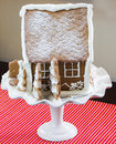 Gingerbread house on a winter landscape Stock Images