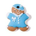 Gingerbread man in a blue coat and hat isolated on white Stock Photography