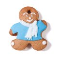 Gingerbread man in a blue coat and scarf isolated on white Stock Photos