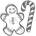 Gingerbread man and candy cane drawing Stock Photo