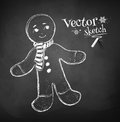 Gingerbread man chalkboard drawing of Stock Images