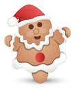 Gingerbread man christmas vector illustration cute happy santa character Stock Photos