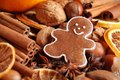 Gingerbread man close up of cookie spices and nuts Stock Photo