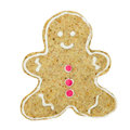Gingerbread man cookie. Christmas biscuit isolated on white back Royalty Free Stock Photo