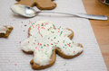 Gingerbread man cookie christmas cookies on white towel Royalty Free Stock Image