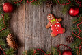 Gingerbread man cookie composition in fir tree