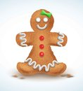 Gingerbread man decorated colored icing. Holiday cookie in shape of . Qualitative vector illustration for new year s day