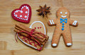 Gingerbread man hearts stars Royalty Free Stock Photography
