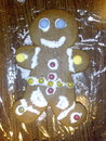 The gingerbread man holiday cookie my children decorated Stock Image