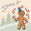 Gingerbread man juggling with sugar candies Royalty Free Stock Photography