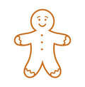 Gingerbread man line icon