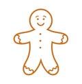 Gingerbread man line icon