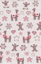 Gingerbread man and llamas seamless vector pattern on stripes background. Cute vector background for New Years day