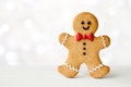Gingerbread man with red bow tie Stock Photos