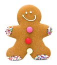 Gingerbread man single christmas cookie isolated on white Stock Photo