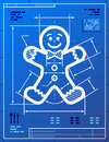 Gingerbread man symbol like blueprint drawing stylized drafting of sign on paper qualitative vector eps illustration for new years Royalty Free Stock Image