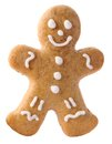 Gingerbread man on white background Royalty Free Stock Photo