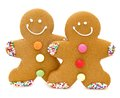 Gingerbread men two christmas over a white background Royalty Free Stock Photography