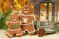 Gingerbread people christmas with ecological message decoration of table Stock Photos