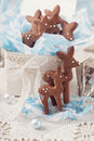 Gingerbread reindeer cookies and christmas decoration Royalty Free Stock Images
