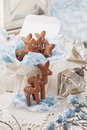 Gingerbread reindeer cookies and christmas decoration Royalty Free Stock Photography